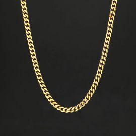 5mm Cadena Cubana de Acero Inoxidable de Oro