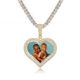 Colgante de Foto de Corazón de Doble Halo Personalizado de Oro