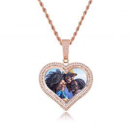 Colgante de Foto de Corazón de Doble Halo Personalizado de Oro Rosa