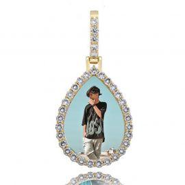 Colgante de Foto con Forma de Gota Personalizado de Oro con Diamantes