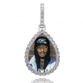 Colgante de Foto con Forma de Gota Personalizado de Plata con Diamantes