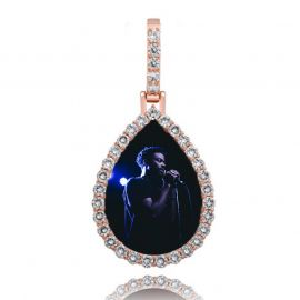 Colgante de Foto con Forma de Gota Personalizado de Oro Rosa con Diamantes