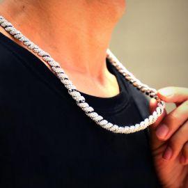 Cadena Espiral Pavimentada con Diamantes de Plata de 10mm
