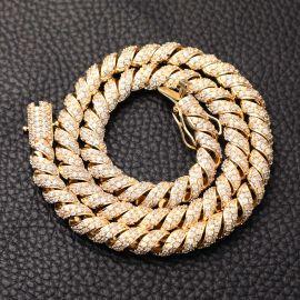 Cadena Espiral Pavimentada con Diamantes de Oro de 10mm