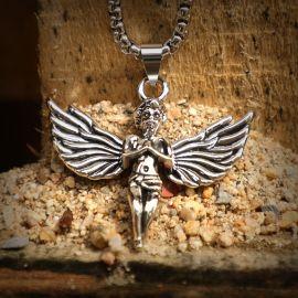 Colgante de Acero de Titanio del Ángel de la Oración