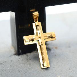 Colgante Cruz de Acero Inoxidable de Oro de 18K