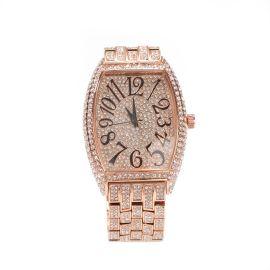Reloj de pulsera curvo con esfera grande en forma de tonel de oro rosa con diamantes