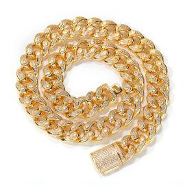 Única Cadena de Eslabones Cubanos de 15mm de Oro con Piedras en forma de Gota