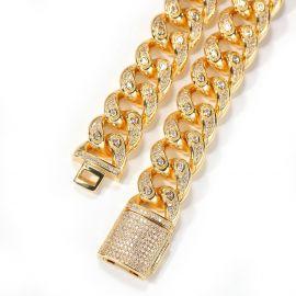 Única pulsera cubana con piedras en forma de goteo de 15 mm de oro