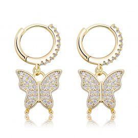 Pendientes Colgantes de Mariposa con Diamantes