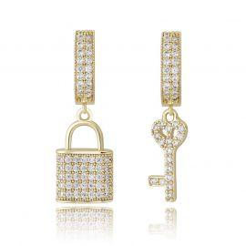 Pendientes Colgantes Asimétricos de Cerradura y Llave con Diamantes