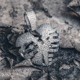 Colgante de Corazón Esqueleto Roto de Plata