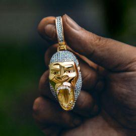 Colgante de Oro del Gorila Rugiente con Diamantes