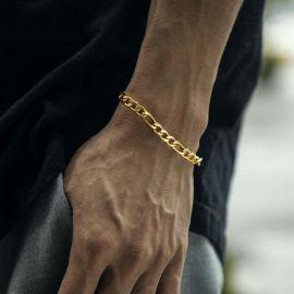 Pulsera de Figaro de Acero Inoxidable de Oro de 5mm
