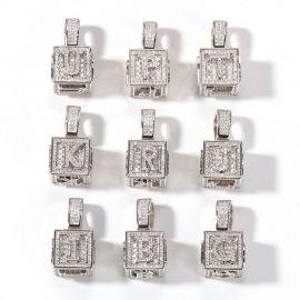 Colgante de Letra Cubo de la A a la Z de Plata con Diamantes