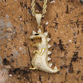 Colgante de Dinosaurio de Oro con Diamantes