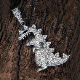 Colgante de dinosaurio de plata con diamantes