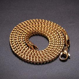 3mm Cadena de Cajas de Franco de Oro de 18K
