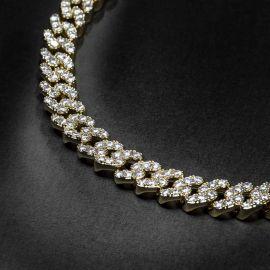 8mm Cadena de Eslabones Cubanos de Oro con Diamantes