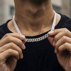 8mm Cadena de Eslabones Cubanos de Plata con Diamantes