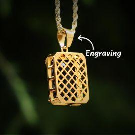 Colgante de Cubo de Oro con Diamantes