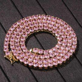Cadena de Tenis con Piedras Rosas de 4 mm de Oro