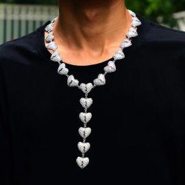 Cadena de Diamantes con Corazón Roto de Plata de 18K