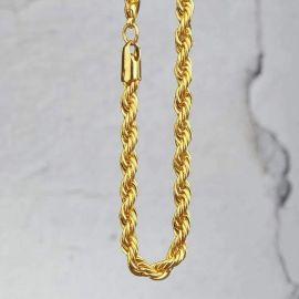 5mm Cadena de Cuerda con Acabado de Oro de 18K