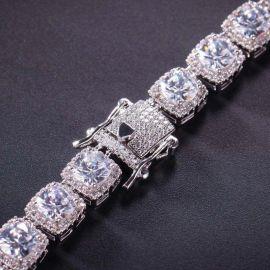 Cadena de tenis de diamantes con diseño de baguette de plata de 10mm