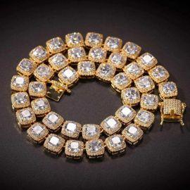 Cadena de tenis de diamantes con diseño de baguette de oro de 10mm