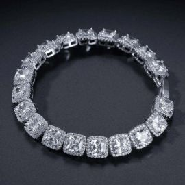 10mm Pulsera de tenis con diamantes baguette de plata de 18K
