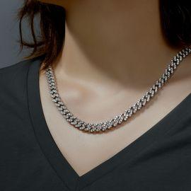 Cadena Cubana de 8 mm de Plata con Diamantes para Mujeres
