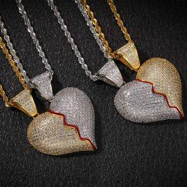 2pc Colgante de Dos Tonos de Corazón Roto