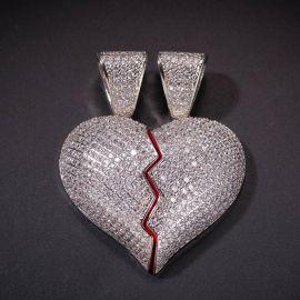 2pc Colgante de Corazón Roto de Plata