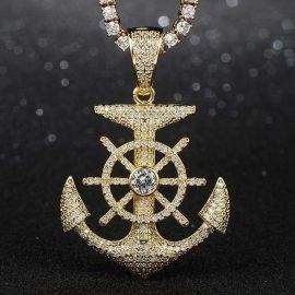 Colgante de Ancla y Timón con Diamantes