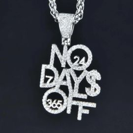 Colgante No Days Off de Plata con Diamantes