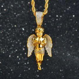 Colgante de Ángel Orante con Diamantes