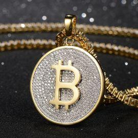 Colgante de Bitcoin de Oro con Diamantes