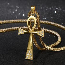 Colgante Cruz de Ankh de Oro con Algunos Diamantes Redondos