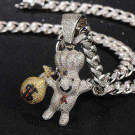 Colgante de Dough Boy con la bolsa de dinero de plata con diamantes