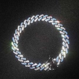 Pulsera Cubana con Diamantes Azules y Blancos de Dos Tonos de 8mm