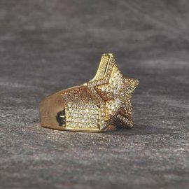 Anillo de Oro de 18K con Diamantes, Diseño Estrella
