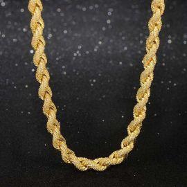 Cadena de Cuerda de Oro de 18K con Diamantes de 8mm