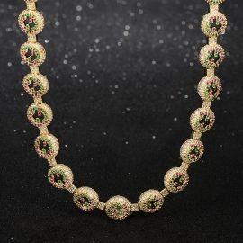 Cadena de Círculo con Diamantes de Dos Tonos de Oro