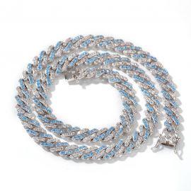 8mm Cadena de Eslabones Cubanos de Dos Tonos con Diamantes Azules y Blancos