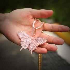 Juego de Colgante de Mariposa Rosa con Cadena de Tenis de 4 mm y 20