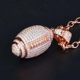 Colgante de Fútbol Americano de Oro Rosa con Diamantes
