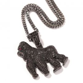 Colgante de Gorila de Oro Negro con Diamantes