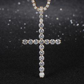 """Colgante Cruz de 3"""" Diamantes de Oro"""