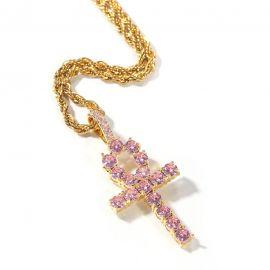 Colgante Cruz de Ankh de Oro con Diamantes Rosas